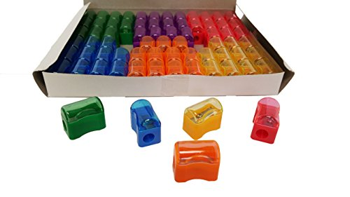 Pack Sharpener (Pencil Sharpeners For Kids with Removable Neon Colored Lids (72 Pack))