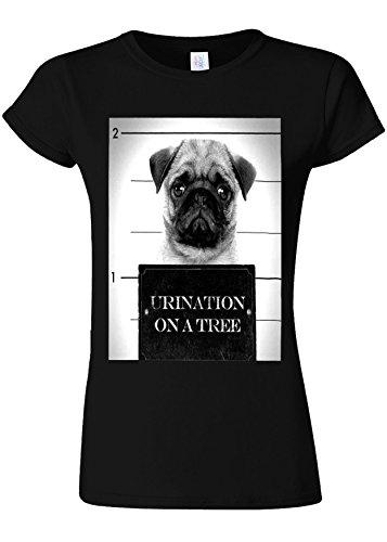 テクスチャー反対する状態Pug Urination Mug Shot Funny Novelty Black Women T Shirt Top-L