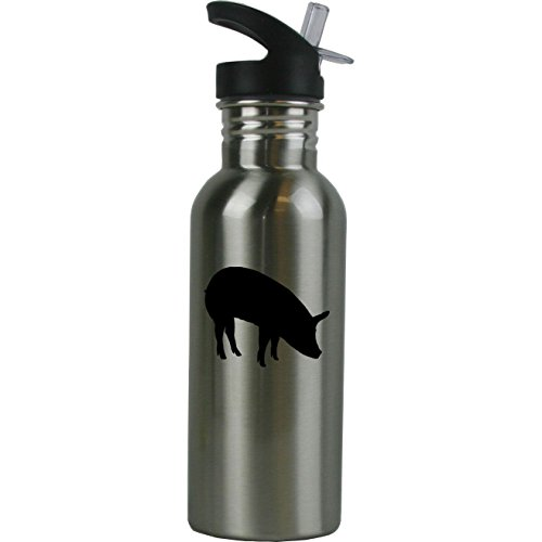 Personalized Custom Pig Stainless Steel Water Bottle with Straw Top 20 Ounce Sport Water Bottle Customizable (Pig Personalized)