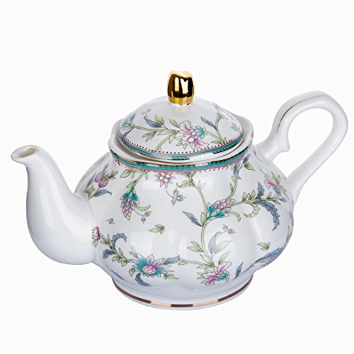 HOMEKEROS fine Bone China Porcelain Teapot Vintage Royal Style Lily Floral Trimmed In Gold - 39 Ounce for 5 cups