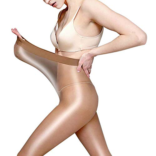 60D Shaping Stockings Plus Size Sexy Women Pantyhose Ultra Shimmery Stretch Skinny Tight Flash Oil Shiny Dance Socks (Coffee, One Plus Size) -