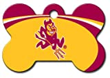 Personalized Laser Engraved 1.5 x 1 inch Arizona State University Sun Devils Bone Shape Pet ID Tag- Free Tag Silencer