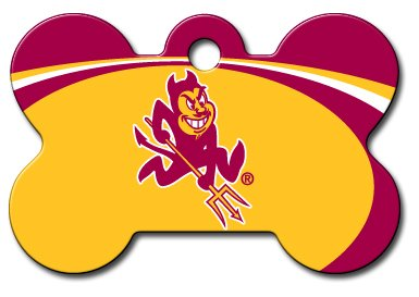 Personalized Laser Engraved 1.5 x 1 inch Arizona State University Sun Devils Bone Shape Pet ID Tag- Free Tag Silencer by dogIDS