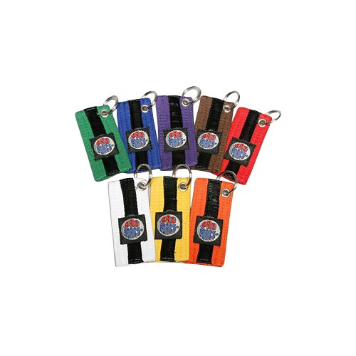 ProForce Black Striped Belt Keychains - White - 10 Pack ()