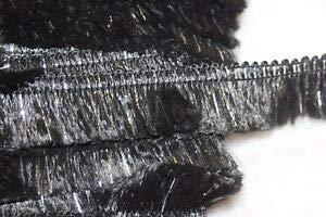 (1.25 Yard Black Metallic Silver Costume Upholstery Sewing Craft Fringe Trim 1