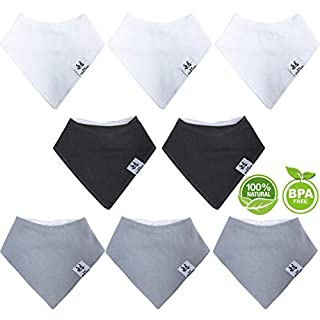 Bamboo Baby Bandana Bibs - Hypoallergenic Ultra Soft Absorbent Baby Boy Bibs for Drooling and Teething - Natural Reusable Newborn Drool Bibs for Sensitive Skin - Baby Registry as Shower - 8-Pieces