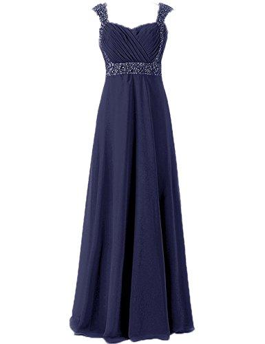 Marineblau Festkleider Chiffon Brautjungfernkleider Herzausschnitt Abendkleider Lang Ballkleider v0YwBT6