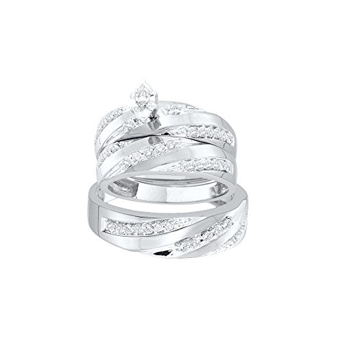 10k White Gold Diamond Marquise Center Mens And Ladies Couple His & Hers Trio 3 Three Ring Bridal Matching Engagement Wedding Ring Band Set (0.78 cttw.) Please use drop down menu to select your desired ring sizes