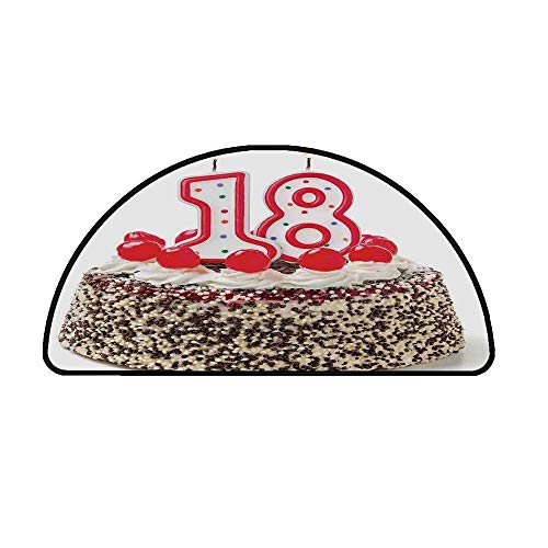 18th Birthday Decoration Comfortable Semicircle Mat,Sweet Eighteen Party Cake with Candles and Cherries Sprinkle Photo for Living Room,31.4