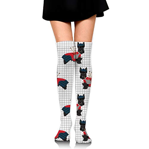 GERSWEET Ideal Gifts - Fashion Thigh High Long Tube Stockings for Women Over The Knee Socks with Scottie Dog with Bagpipes Warm Comfortable Compression Socks