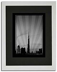 Dubai Skyline Down Town - Black And White No Text F02-m (a4) - Framed