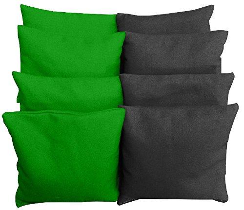 Regulation Size Cornhole Bags (Set of 8) - Choose Your Colors (Green & (Bag Black Green)