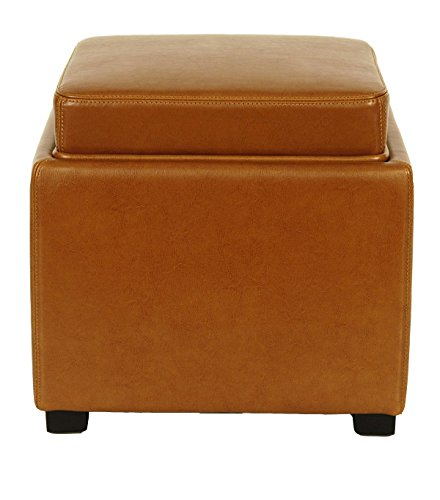 Safavieh Hudson Collection Kaylee Leather Single Tray Square Storage Ottoman, Saddle