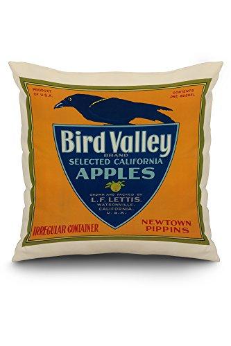 (Bird Valley Apple Crate Label (20x20 Spun Polyester Pillow, White Border))