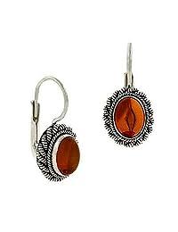 Sterling Silver .925 Genuine Amber Stone Twist Border LeverBack Lever Back Earrings