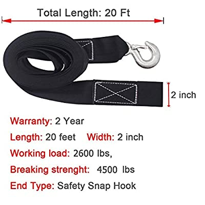 Botepon Marine Boat Trailer Winch Strap with Hook Replacement, 2''x20' and 4500 lbs Capacity for Boats, Trailer, Wave Runner, Towing, Heavy Duty Equipment