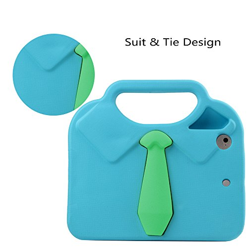 TabPow Suit & Tie iPad Mini Case - [Shockproof][Drop Protection][Heavy Duty] Cute Kids Children EVA Case Cover with Carrying Handle and Stand For iPad Mini and iPad Mini 2 with Retina, Turquoise Blue Photo #5