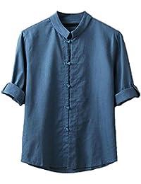 Men Plus Size Cotton Linen Mandarin Collar Frog-Button Roll-Up Sleeve Shirt Top