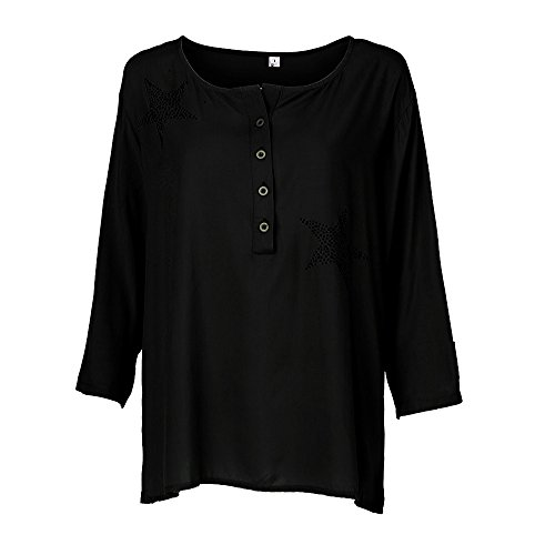 - OrchidAmor 2019 New Button Down Plus Size Tops Five-Pointed Star Hot Drill Blouse for Women Black