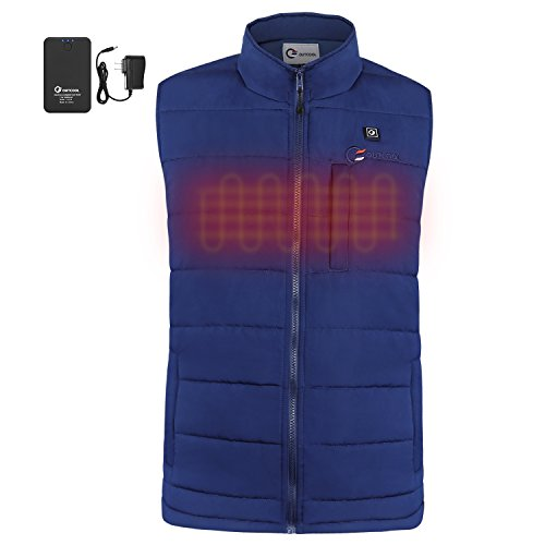 Heated Nylon Vest - OUTCOOL Men's Heated Vest Light Weight Insulated Heated Down Vest Heating Winter Vest (XL)