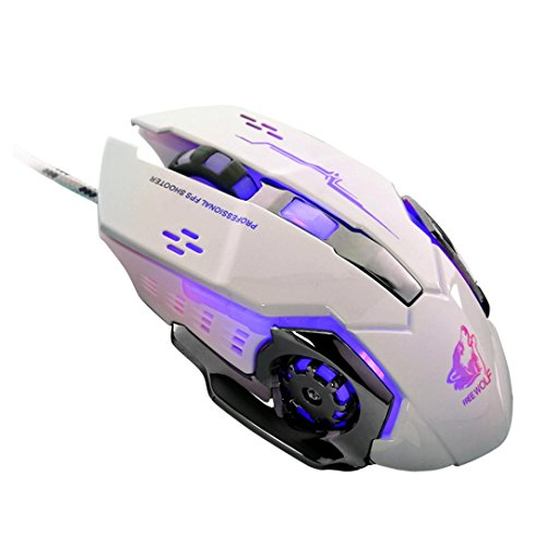 Joint 4-Colors LED Light Breathing Wired Optical USB Mouse Ergonomic Pro Gamer Gaming Mouse Metal Plate, Adjustable 500 / 1500/2500 / 4000 DPI, 6 buttons (White)