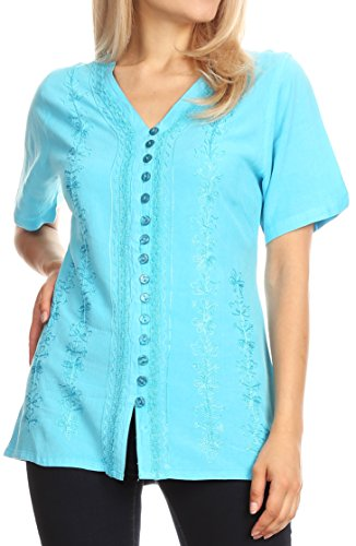 Sakkas 1665 - Estella Womens Short Sleeve V Neck Button Down Top Blouse with Embroidery - Turquoise - - Inch Cart Adjustable A/v 42