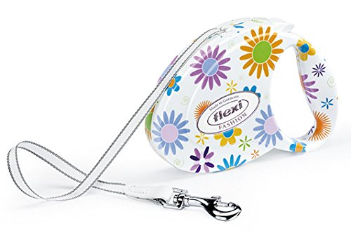 Flexi Ladies Flowers Fashion Retractable Tape Leash, Medium