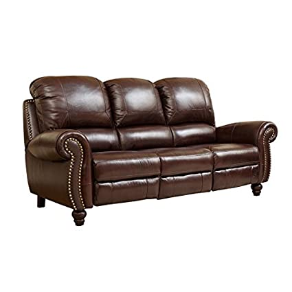 Abbyson Herzina Leather Reclining Sofa in Burgundy