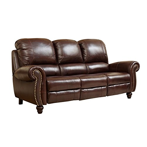 Abbyson Herzina Leather Reclining Sofa in Burgundy -