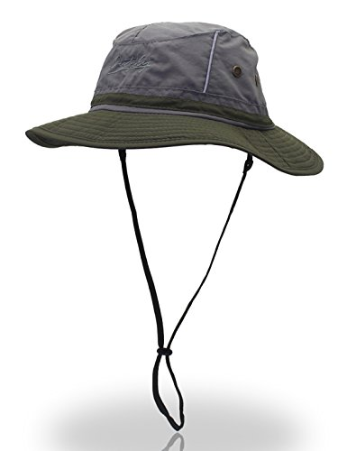 Protection Cowboy Sun (Panegy Summer Solid Boonie Hats Jungle Sun Protection Cowboy Bora Sun Caps Adjustable Chin Cord Dark Gray & Army Green)