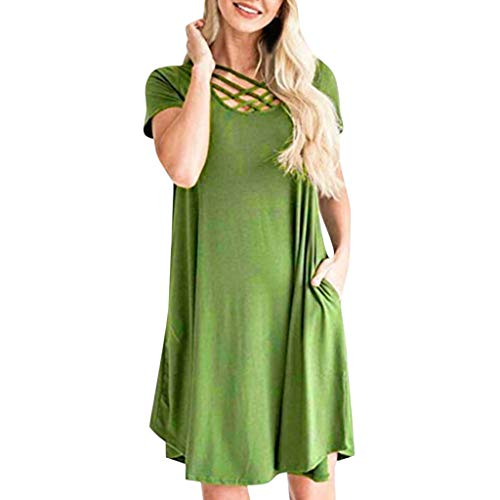 Dresses Women Casual Short Sleeve Solid Front Crossover Pleated Flowy Hem with Side Pocket Classic (XXL, Green)