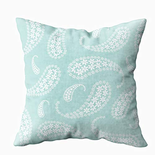 - TOMWISH Hidden Zippered Pillowcase Aqua Paisley Print 18X18Inch,Decorative Throw Custom Cotton Pillow Case Cushion Cover for Home Sofas,bedrooms,Offices,and More