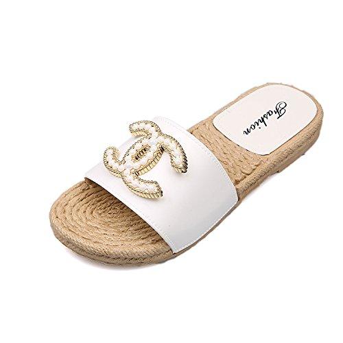 dérapant Plat Anti D'été Femmes 37 Mou Survêtement Fond Pantoufles Pantoufles Sable XING Fond 2 De Mot Et Pink White 36 Avec GUANG De Chaussures Sandales p07OP