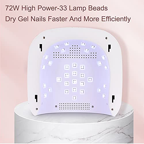LED UV Nail Lamp Cordless Professional 72W, Rechargeable UV LED Nail Dryer For Gel Nail Polish Nail Dryer Curing Lamp,3 Timer Setting Gel Nail Lights for Auto Sensor Nail Machine Wireless Fast