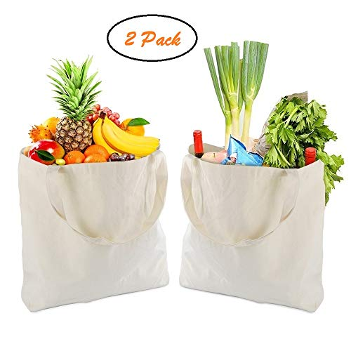 Reusable Shopping Bags Grocery Tote Bags Canvas Bag Collapsible Reinforced Handles Cloth heavy duty Tote shopping Sailcloth bag for everyday use, foldable washable Eco-friendly Tote bags 2 Pack