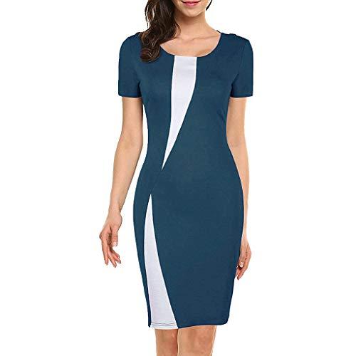 Womens Pencil Dress,Summer Short Sleeve Bodycon Work Dress Changeshopping Blue