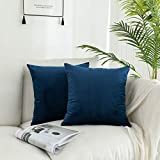 """Kevin Textile Pack of 2, Cushion Cover Velvet Soft Soild Decorative Square Throw Pillow Covers Set Cushion Cases Pillowcases for Sofa, 20""""x20"""", Sargasso Sea Blue"""