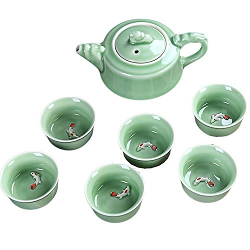 CoreLife Chinese Tea Set, Kung Fu Porcelain Handmade Ceramic Tea Set (6 Cups with Teapot) - Teal with Raised Koi Fish Design