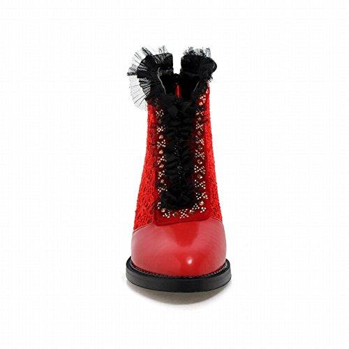 Carolbar Mujeres Chic Zipper Lace Rhinestone Moda Elegance Chunky Mid Heel Dress Botas Rojo