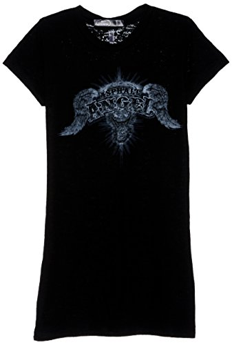 Hot Leathers Asphalt Angel Ladies Burnout Short Sleeve Biker T-Shirt (Black, X-Large)