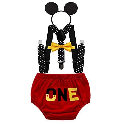 HIHCBF Baby Boys Mickey Outfits 1st Birthday Cake Smash Photo Shoot Costume Bloomers Suspenders Bow Tie Headband 4pcs Set 6-12M (Smash Cake For 1 Year Old Boy)