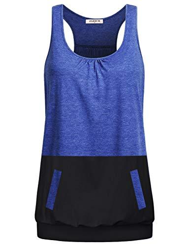 Jazzco Womens Scoop Neck Cute Racerback Gym Tank Top for Women Plus Size(Blue,XXL) Banded Bottom Racerback Tank