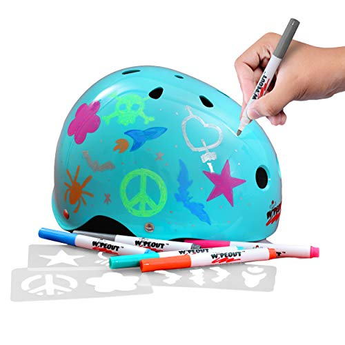 Wipeout Dry Erase Kids Helmet for Bike, Skate, and Scooter, Teal Blue, Ages 8+