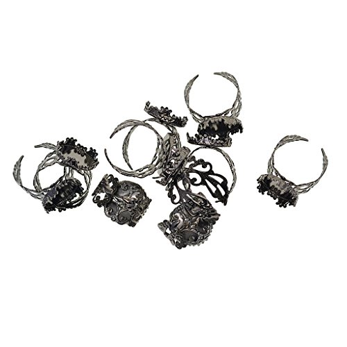 MagiDeal 10 Pieces Blank Brass Crown Adjustable Filigree Ring Bezel Cup Rings Tray Base DIY Findings 15mm for Women Jewelry Accessories Making Supplies - Hematite