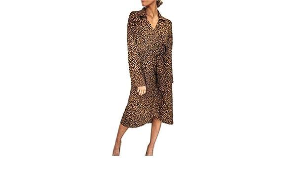 YEBIRAL Para Mujer, Elegantes Vintage Cóctel Vestido de Leopardo ...