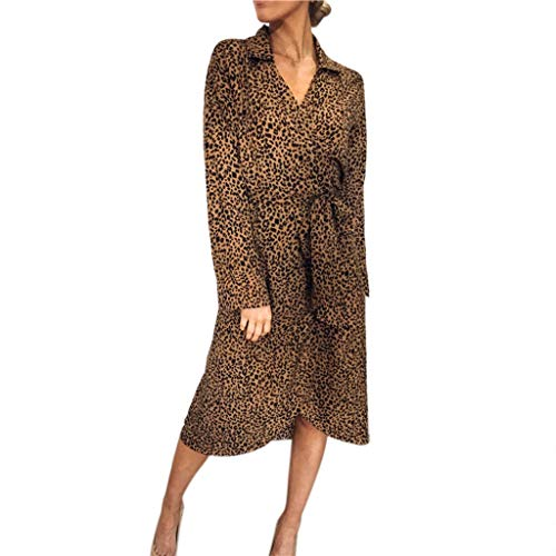 - FEDULK Womens Dress Leopard Print V Neck Lapel Bandage Long Sleeve Waist Belt Daily Dress(Brown, Large)