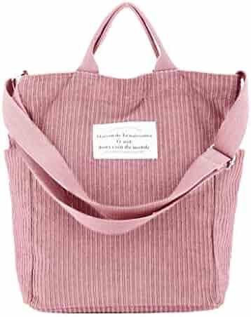 c77d0a40f120 Huaxix Women Casual Corduroy Shopping Crossbody Shoulder Bag Messenger Lady Tote  Handbag