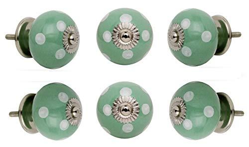 Trinca Ferro Set of 6 Ceramic Round Knob White Spots on Light Green Chrome Finish