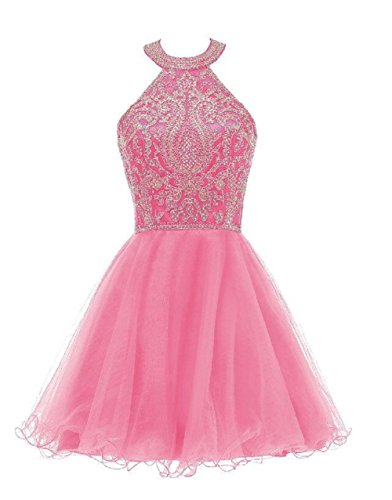 WDING Short Prom Dresses for Juniors Lace Appliques Tulle Homecoming Dress Hot Pink,2