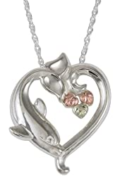 10k Black Hills Gold or 10k Black Hills Gold on Sterling Silver with 12k Gold Leaves Dolphin Heart Pendant Necklace Women's Jewelry FREE STERLING SILVER or GOLD FILLED CHAIN INCLUDED